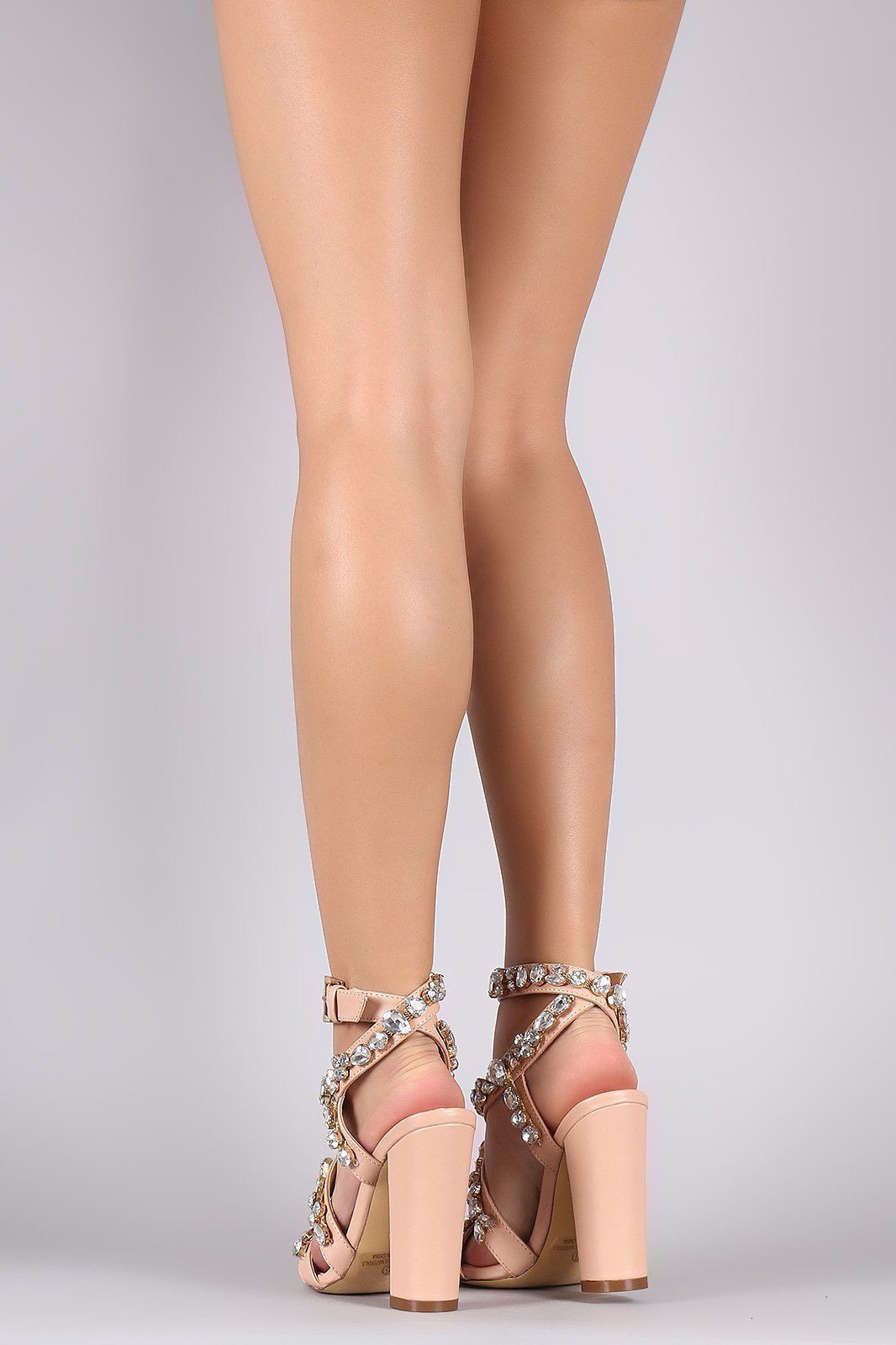 Nude Clear Clear Clear Gemstone Strappy Open Toe Chunky Heel Sandals, US 6-10 4f645b