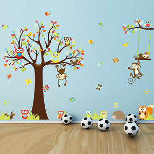 Animal-Owl-Monkey-Jungle-Tree-Kids-Wall-Stickers-Home-Decor-Mural-Decal-Nursery