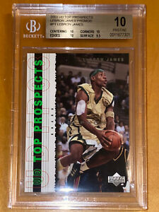 2003-04-UPPER-DECK-PROSPECTS-LeBron-James-PROMOS-ROOKIE-P1-BGS-10-PRISTINE-PSA