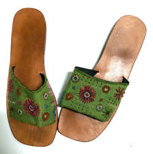 44c09fa35d79cd Chic Indian VTG Green SILK beaded flat leather sandals   slippers size 43    10 m