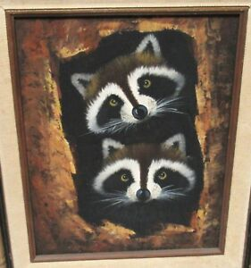TWO-RACCOONS-INSIDE-A-TREE-ORIGINAL-OIL-ON-CANVAS-PAINTING-UNSIGNED