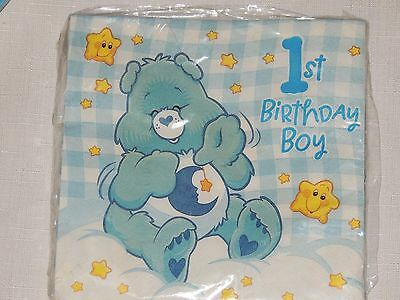 NEW CARE BEARS 1st  BIRTHDAY BOY  16-LUNCH  NAPKINS    PARTY SUPPLIES