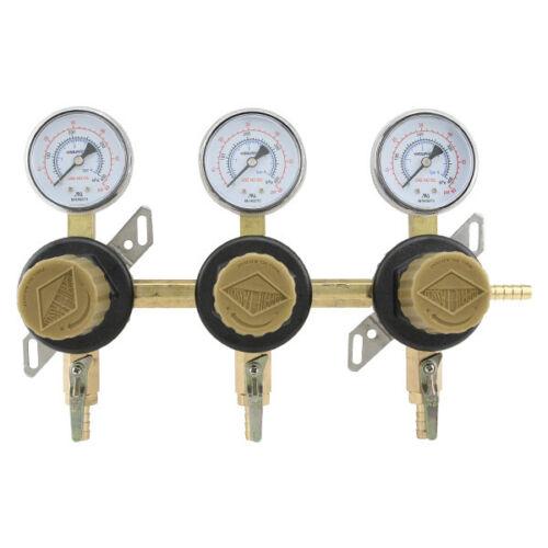 3-Way Secondary Air Regulator CO2 to 3 Draft Beer Kegs! Polycarbonate Bonnet