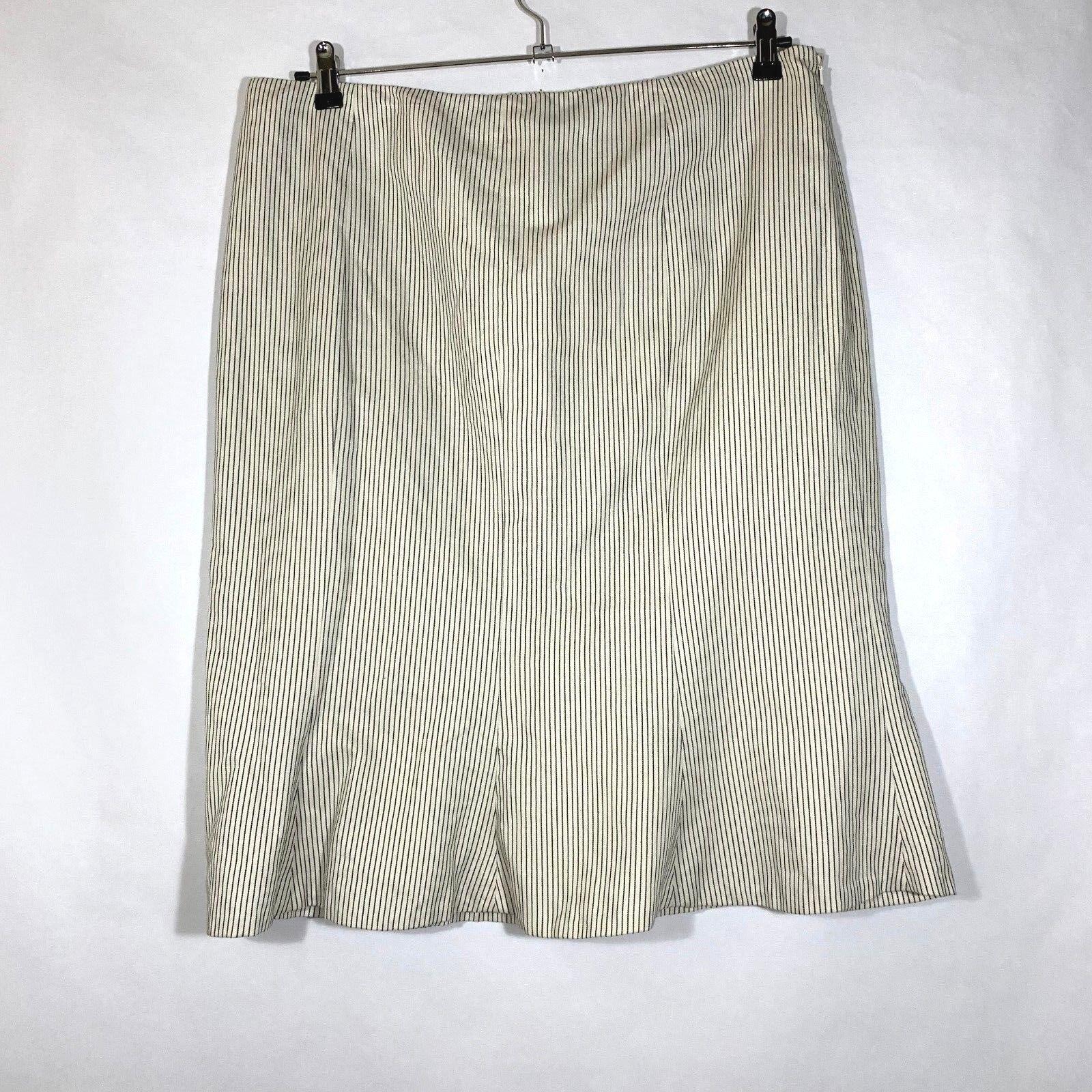 NEW LRL Ralph Lauren Stripe Fit Flare Gored  149 Skirt Women Riveria Lined Sz 16