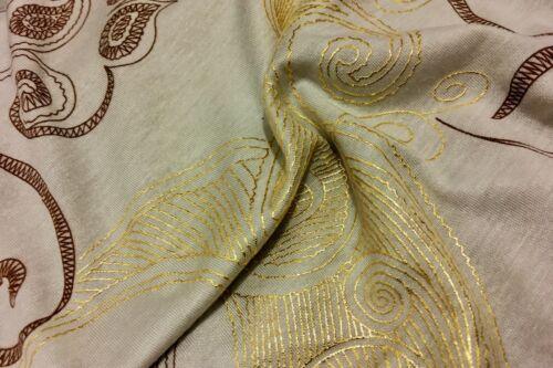 *NEW*Gold Foil Paisley Print Stretch Viscose Jersey Dress//Craft Fabric*FREE P/&P*