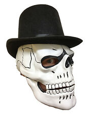 Deluxe White Skull Mask Day Of The Dead Bond Spectre Fancy Dress 007 Masquerade