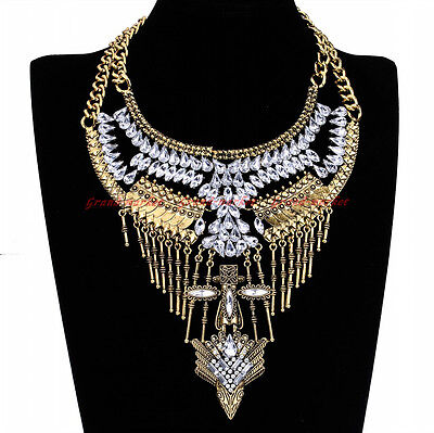 Vintage Gold Chain White Crystal Glass Choker Statement Pendant Bib Necklace New