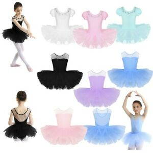 Kid-Girl-Dance-Ballet-Training-Tutu-Dress-Mesh-Splice-Gym-Leotard-Dancewear-2-12