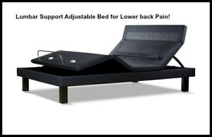 NEW!  LUMBAR SUPPORT ~~ SPLIT KING ADJUSTABLE ELECTRIC BED with 10 MEMORY FOAM