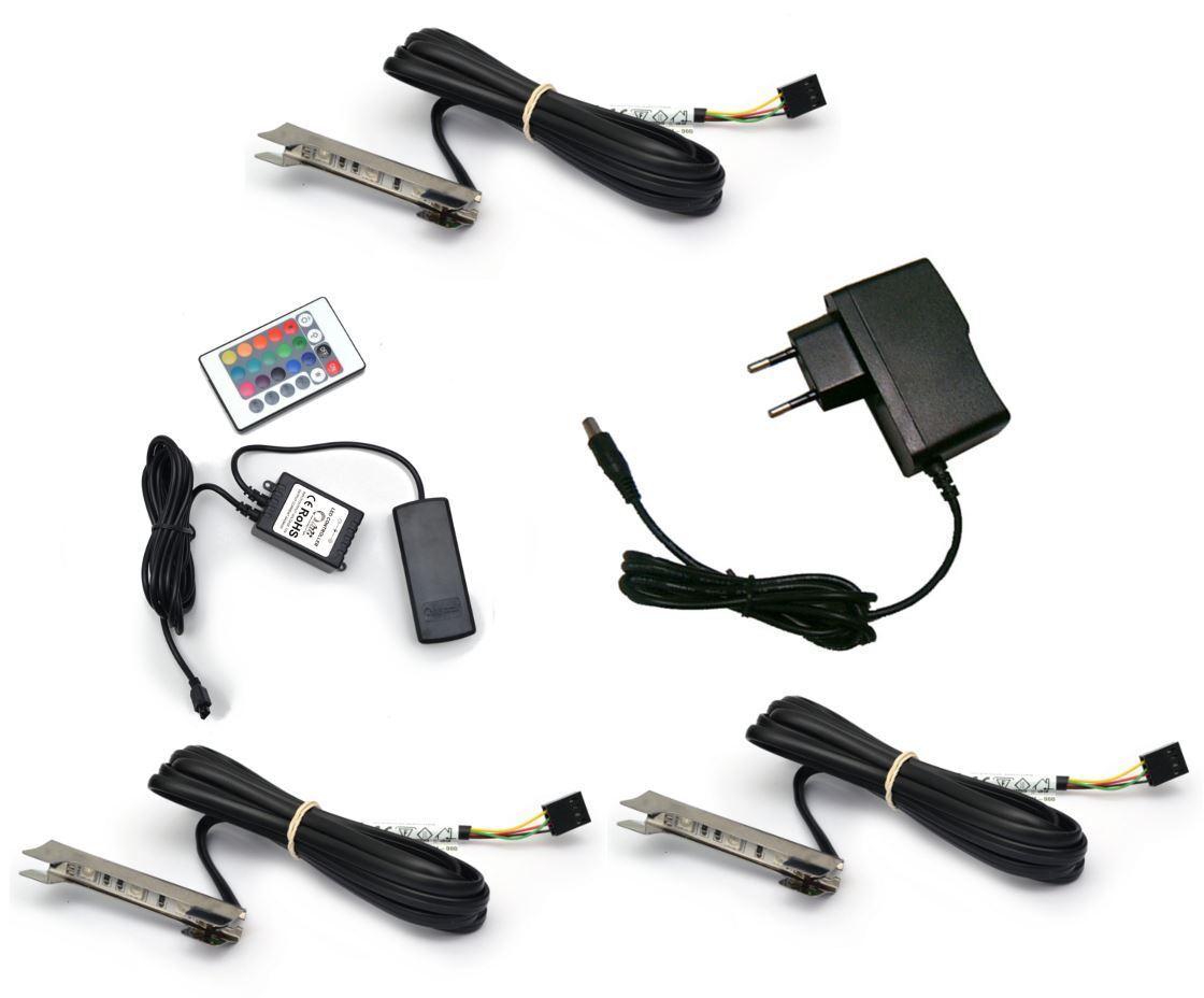 3x LED CLIP come Illuminazione Illuminazione Illuminazione del bordo in vetro RGB + 2m Cavo Di + Controllore cf276c