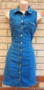 Select blau alle geknöpft Baumwolle Denim Jeans T Shirt Ärmellos Bodycon Kleid 8 S