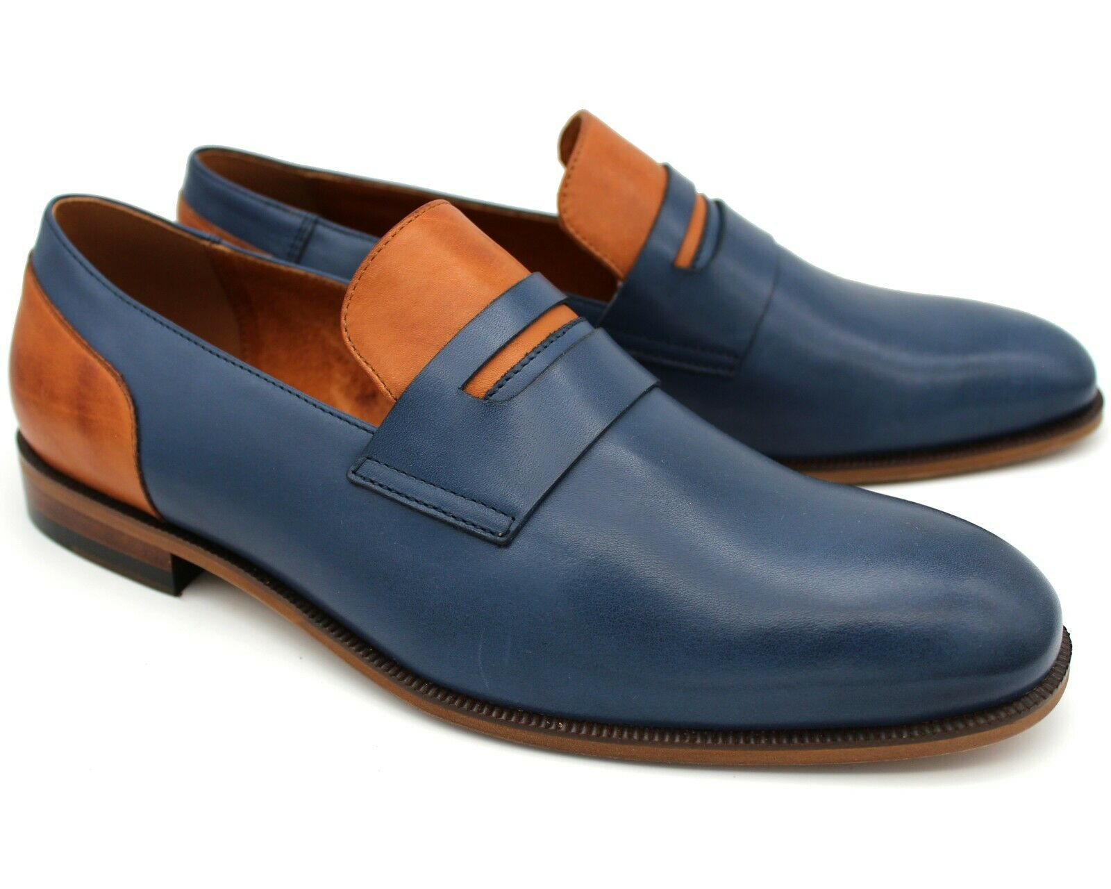 S29 UK 7 NEW MENS NAVY blueE LEATHER LOAFERS SLIP ON ITALIAN SHOES CASUAL EU 41
