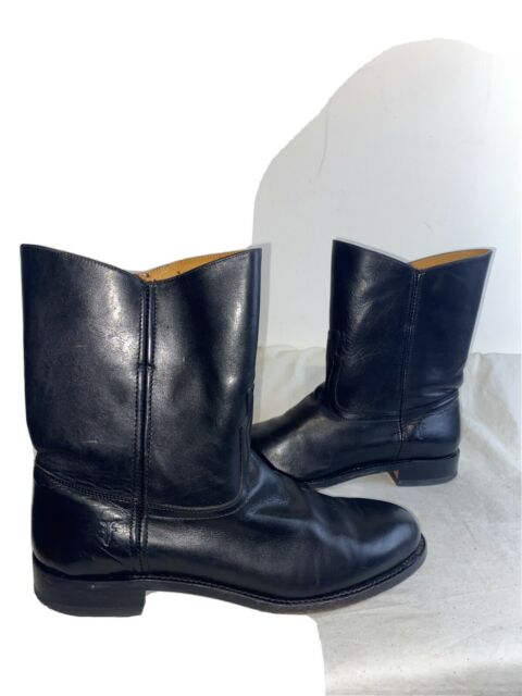 Frye Mens Leather Black Pull On Mid Calf Boots Size 11 D Ref Jano1