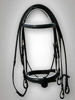 "LEATHER BONEFIRE HORSE BRIDLE PADDED IN BLACK/WHITE,1"" NOSEBAND IN FULL,COB,PONY"