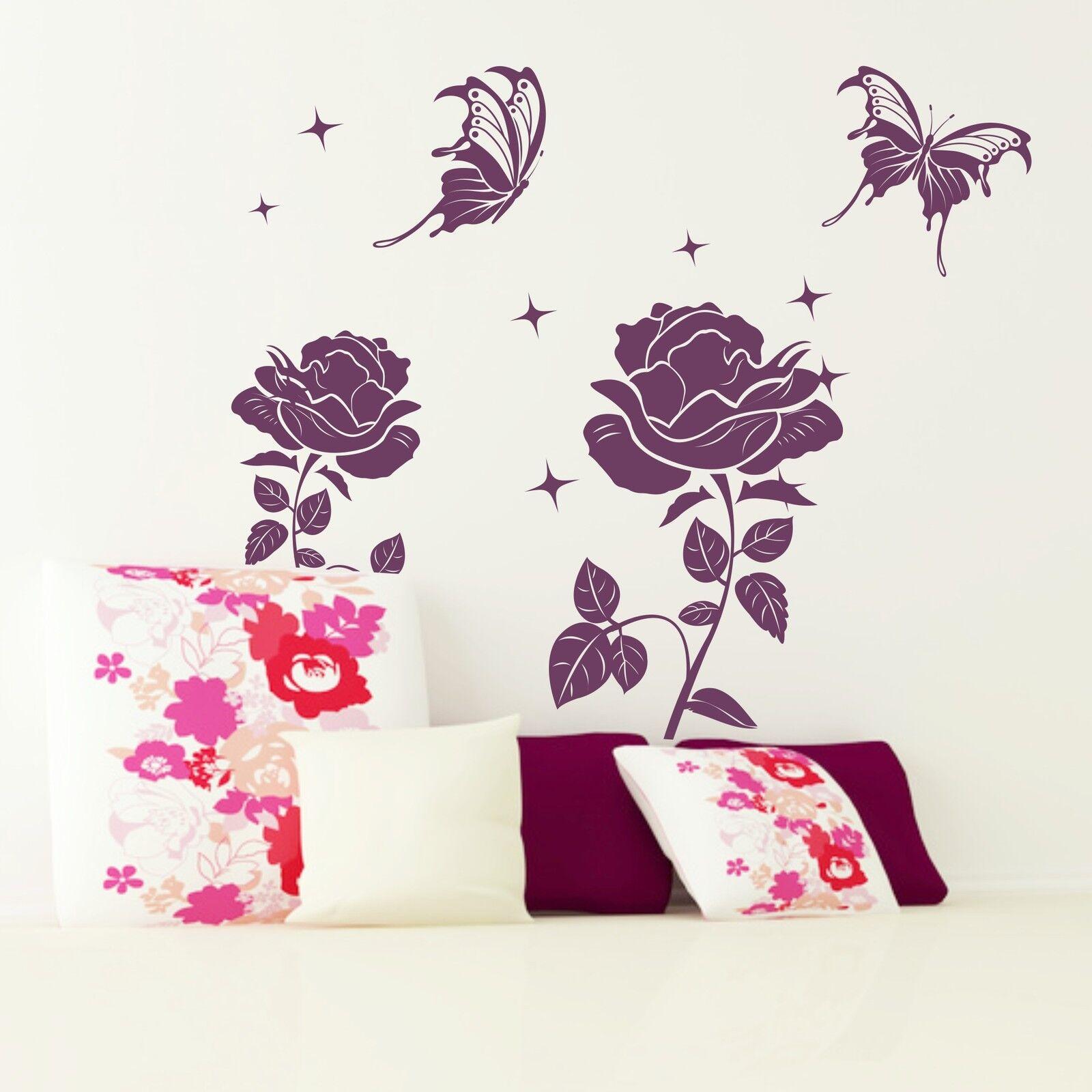 Tapisserie roses magiques magiques magiques roses papillons étoiles rêve murale 7718db