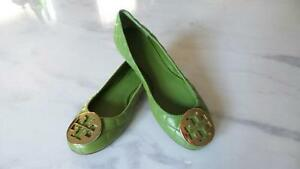 164546d0b0f1 new TORY BURCH QUINN QUILTED LEATHER REVA FLATS LEAF GREEN GOLD Size ...