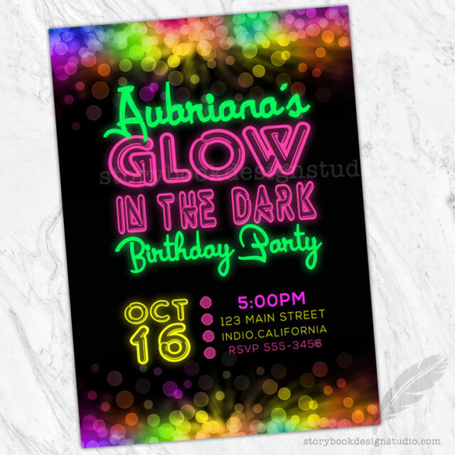 Glow In The Dark Birthday Party Invitations Neon Sticks Skating Bowling