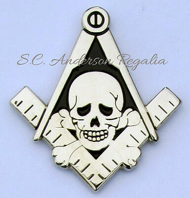 Masonic Square & Compasses with Skull & Bones Cut Out Lapel Pin Mason Freemason