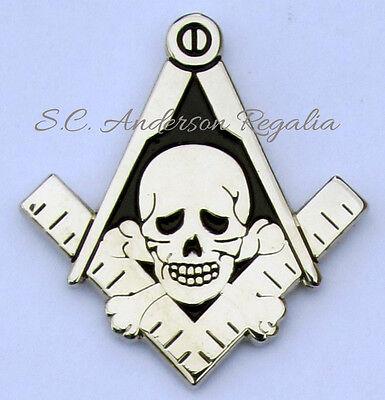 Masonic Square & Compasses with Skull & Bones Cut Out Lapel Pin Mason Freemason