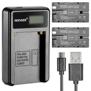 Neewer-Micro-USB-Battery-Charger-with-2-2600mAh-Battery-for-Sony-NP-F550-570-530