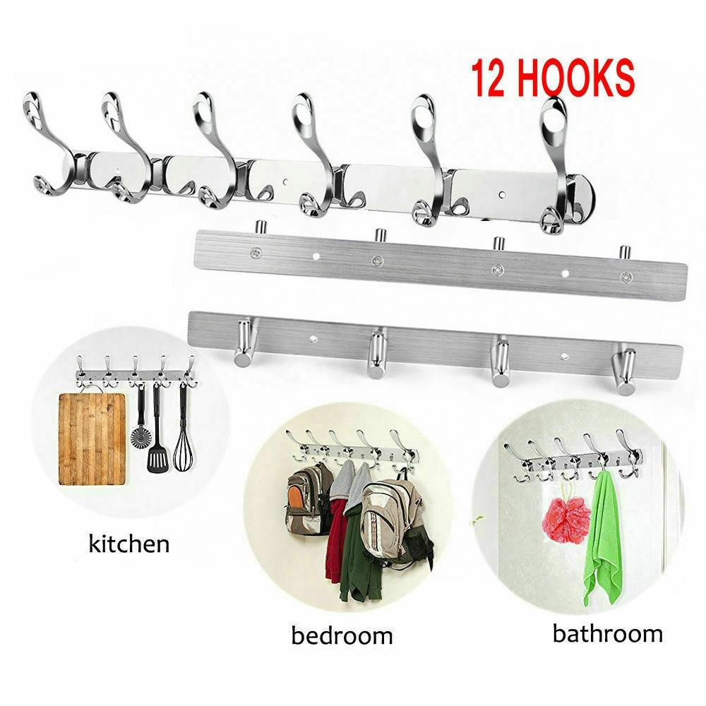 Wall Mounted Bathroom Towel Holder Towel Silver Stainless Steel Metal Hanger