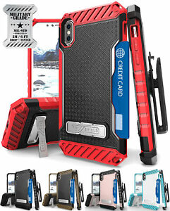 TRI-SHIELD RUGGED CASE STAND CARD SLOT + BELT CLIP HOLSTER FOR APPLE iPHONE X 10