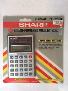 Vintage-Sharp-EL-326S-Calculator-Solar-Powered-In-Original-Box-Wallet-Included