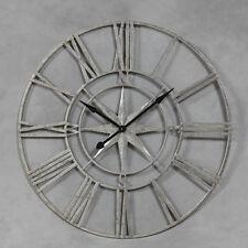 Antique Silver Metal Nautical Compass Skeleton Clock Extra Large 107 CM Diameter