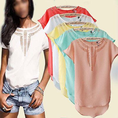 New Women's Loose Casual Short Sleeve Chiffon Blouse Shirt T-shirt Summer Tops