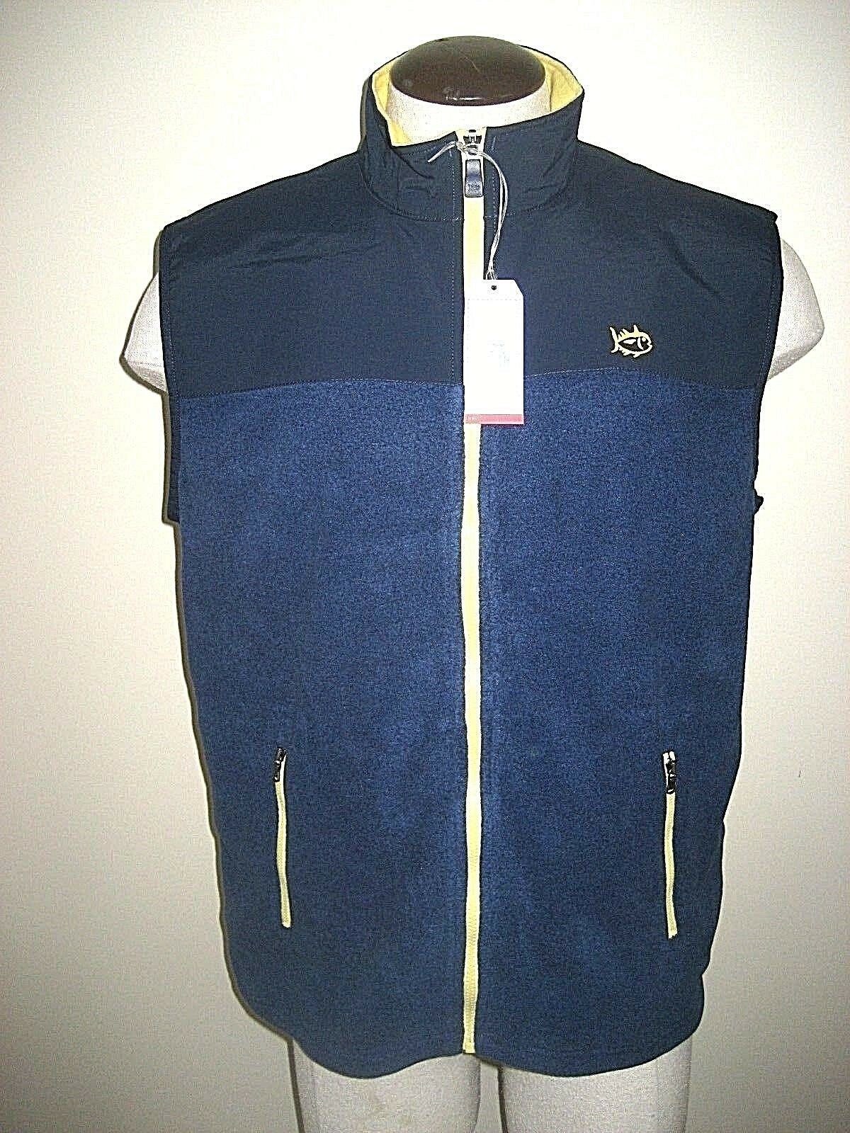 Southern Tide Mens Navigational Vest Navy bluee & Yellow Size Small Free Ship NWT