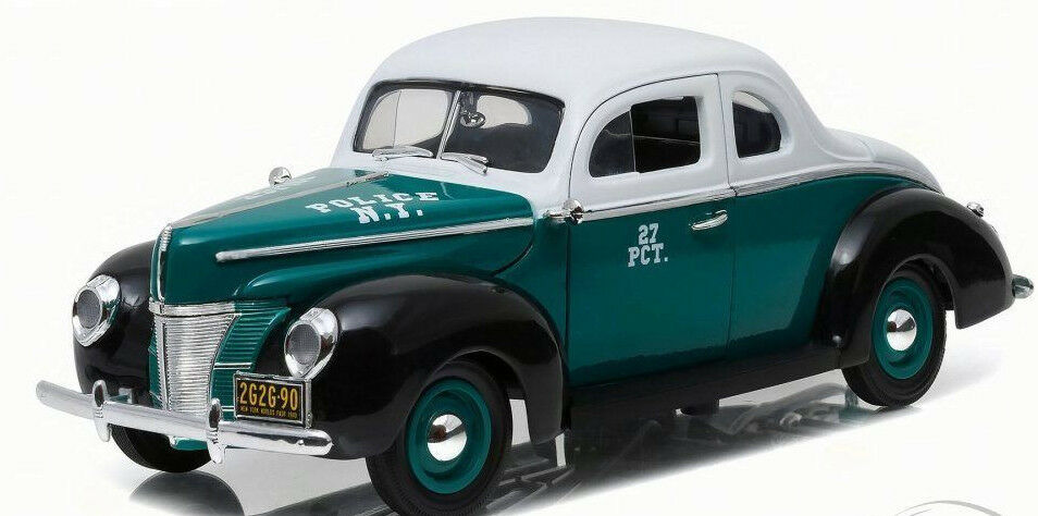 vertLIGHT 1 18 AUTO IN METALLO FORD DELUXE COUPE 1940 POLICE NEW YORK ART 12972