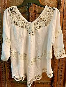 WOMEN-TOP-CROCHET-LACE-RAYON-CRINKLE-LADIES-BLOUSE-IVORY-US-FASHIONS-SUMMER-SALE