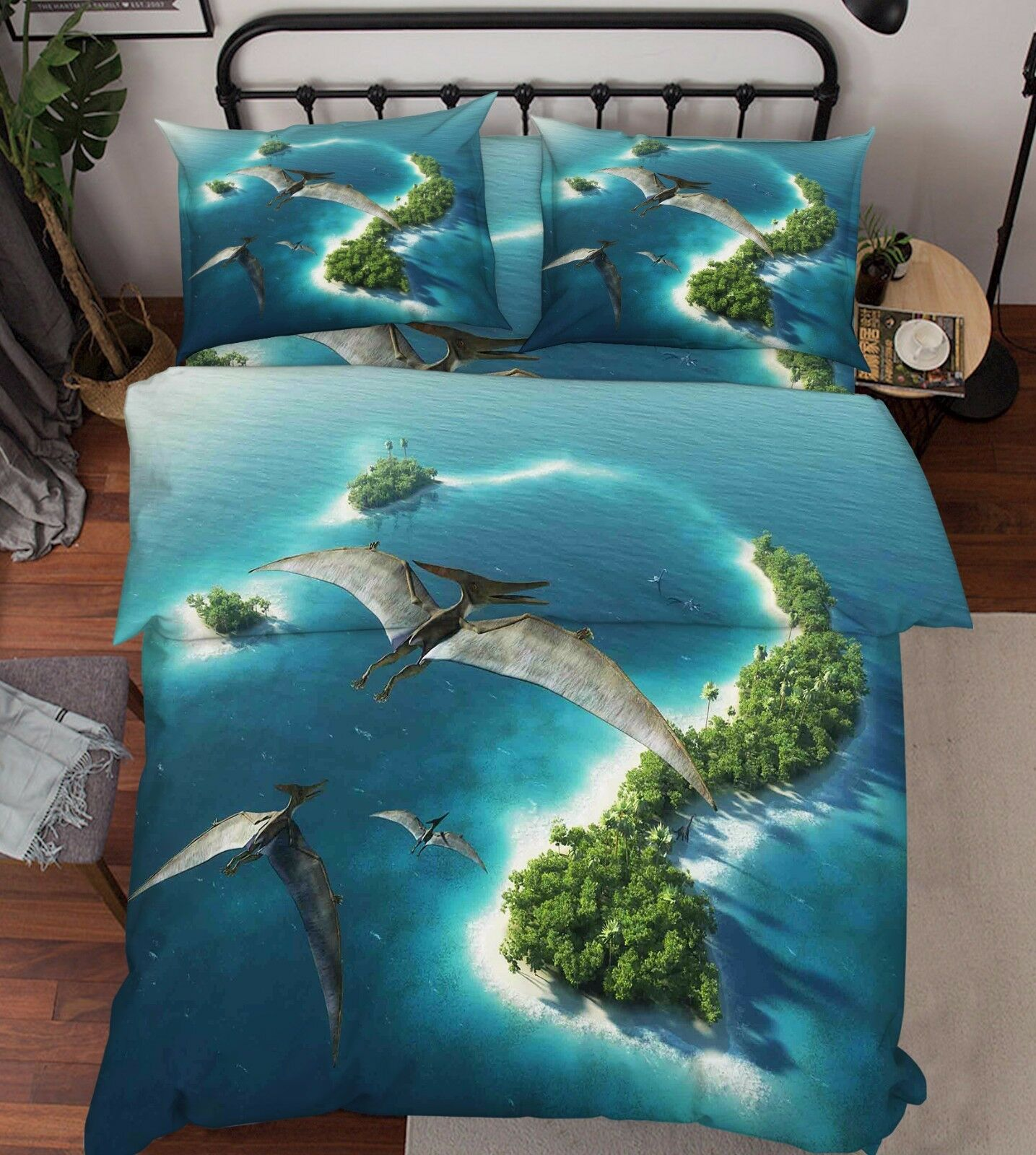 3D Dinosaurier 115 Bett Kissenbezüge steppen Duvet Decken Set Single Königin DE
