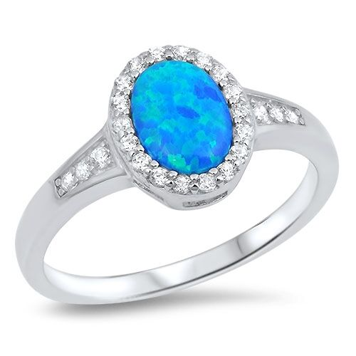 .925 Sterling Silver Halo Style Simulated Blue Opal w/ Clear CZ Promise Ring NEW