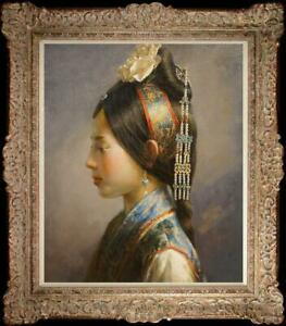 """Hand painted Oil painting original Art Portrait Chinese girl on canvas 20""""x24"""""""