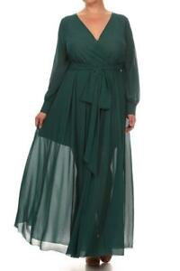 Details about Plus Size Long Sleeve Chiffon Maxi Dress with Waist Tie Belt  Green (1X,2X,3X)