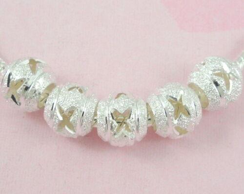30pcs Plaqué Argent Sculpté Big Hole beads Fit European Charm Bracelet ST03