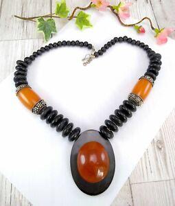 Vintage-De-Coleccion-Estilo-Grueso-ambar-y-negro-distintivo-Collar-Boho-etnico
