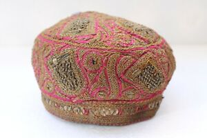 Antique-Real-Silver-Thread-Embroidery-Rich-Muslim-Taqiyah-Imamah-Kufi-Cap-NH3000