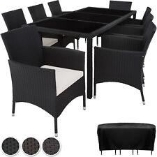 Ensemble Salon de jardin en résine tressée poly rotin table chaises set 8+1