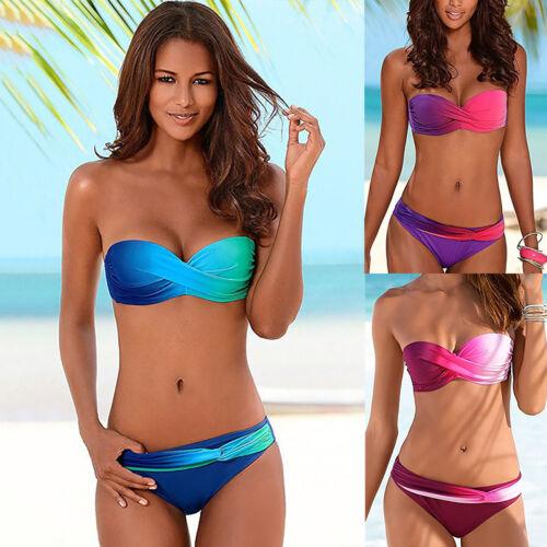 Damen Push Up Bikini Set Wickel-BH Gepolsterte Bandeau Bikini Badebekleidung
