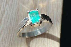 silver 925 real natural emerald size 7 Size 7 Genuine Colombian emerald ring
