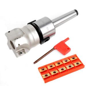 4 Flutes MT2 400R Face End Mill Cutter 50mm + 10pcs APMT1604 Carbide Inserts C#