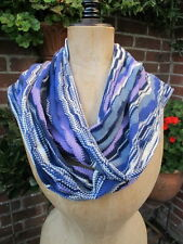 100% genuine MISSONI merino wool mix wrap pashmina blue zigzag SCARF bnwt £295