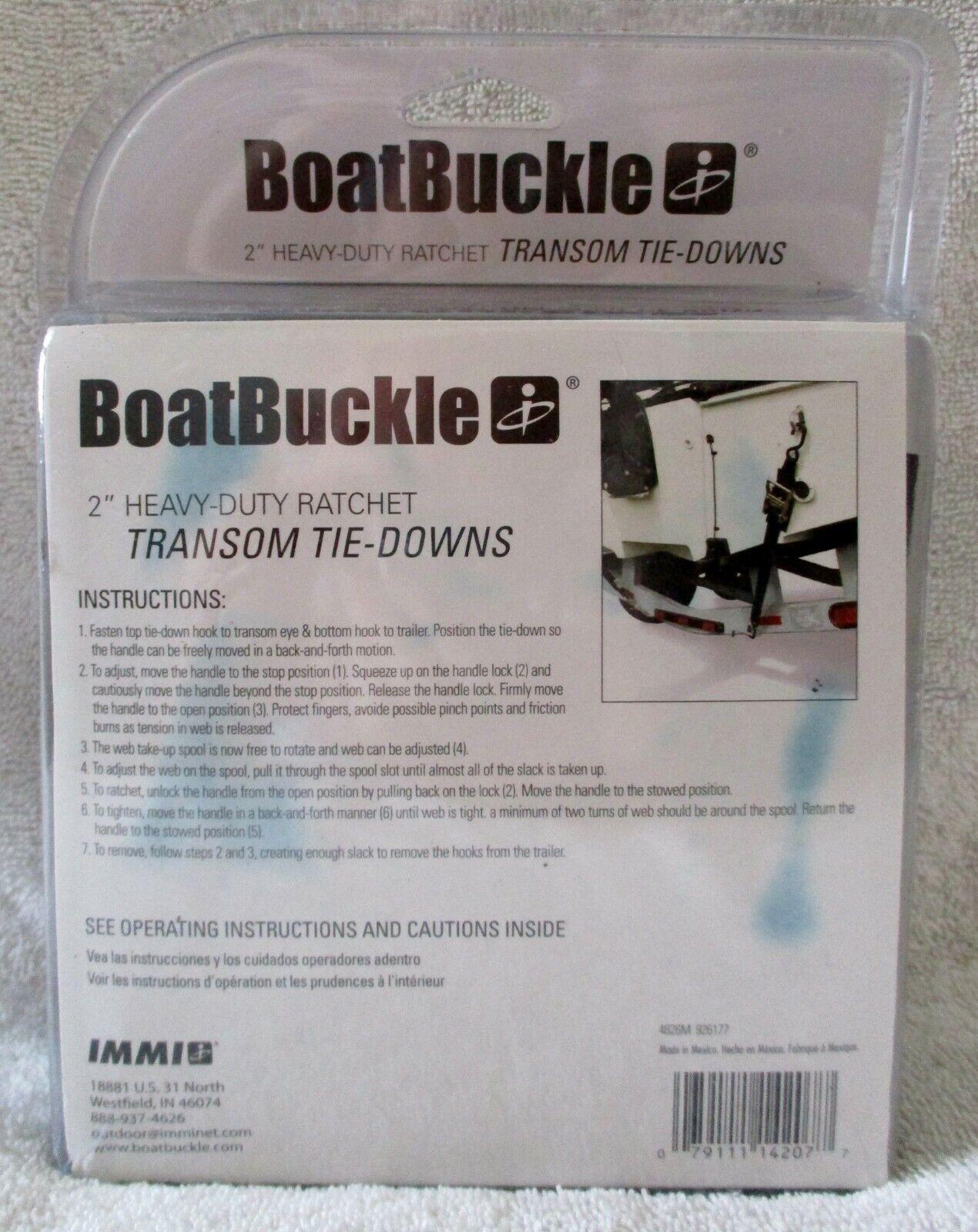 "Boatbuckle Heavy Duty Transom Tie Down 2/"" X 4/' 2500lb Pair F14207"