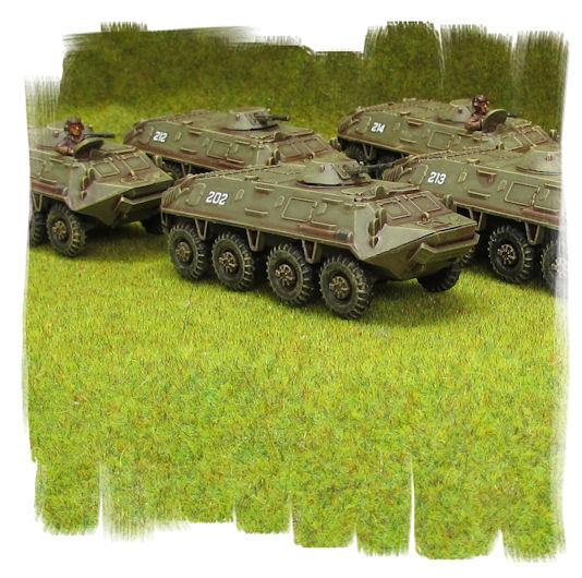 PAINTED   Soviet BTR-60 Company (5 vehicles)   TEAM YANKEE 15mm