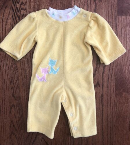 Vtg Healthtex Baby Girl 6m Terrycloth Longall Romp