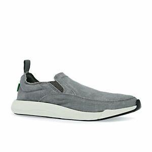 Sanuk-M-Chiba-Chaussures-Pour-Homme-Slip-Ons-Gris-Toutes-Les-Tailles