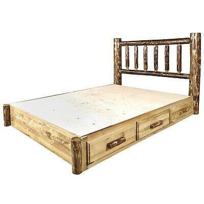 Rustic Log Platform Beds With Storage Drawers King Size Bed Amish Made Furniture Ebay