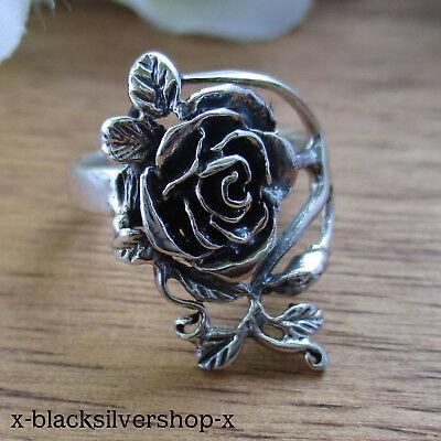 Rose Rosen 925 Sterling Silber Ring Bandring Rosenring Blume